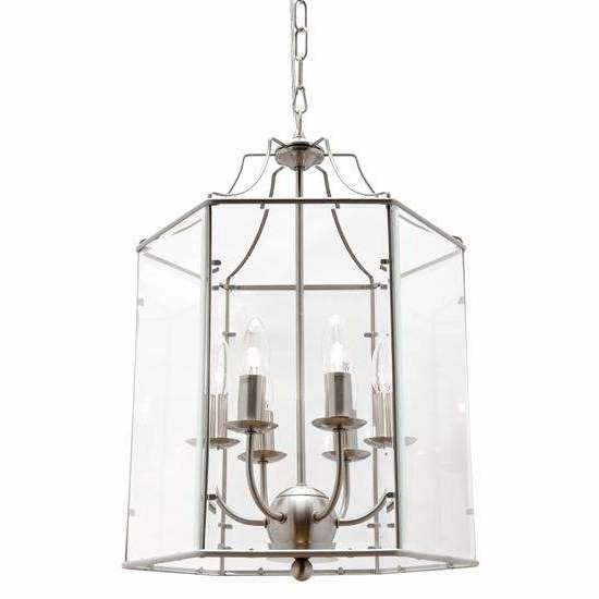 Arcadia 6 Light Pendant in Satin Chrome Silver - Crystal Palace Lighting