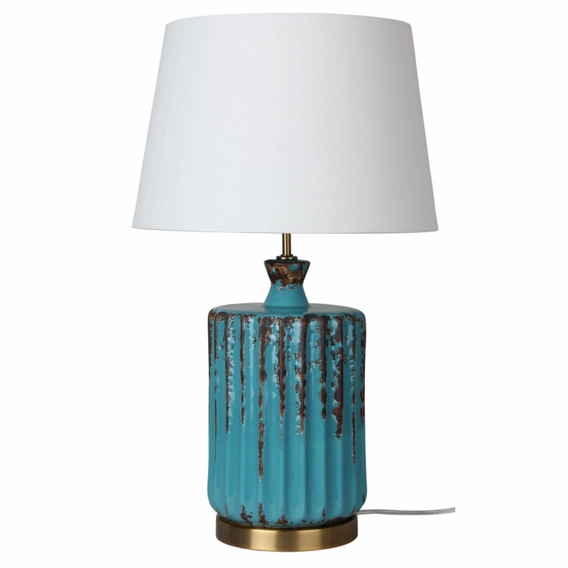 Azure Ceramic Table Lamp in Aqua and Antique Brass with White Shade - Crystal Palace Lighting