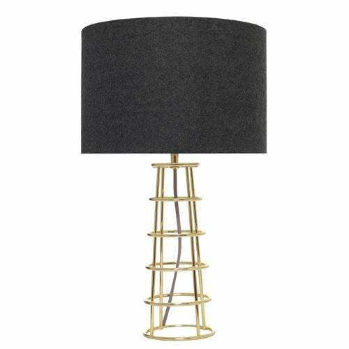 Beatrice Table Lamp in Brass with Black Shade - Crystal Palace Lighting