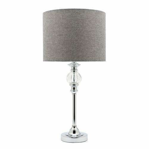 Beverly Table Lamp in Chrome Silver with Grey Shade - Crystal Palace Lighting