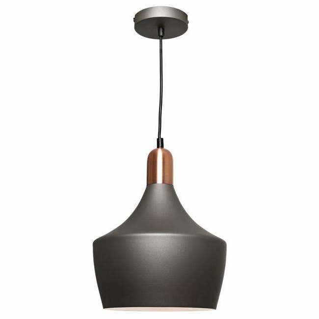 Bevo Pendant in Charcoal Grey and Copper - Crystal Palace Lighting
