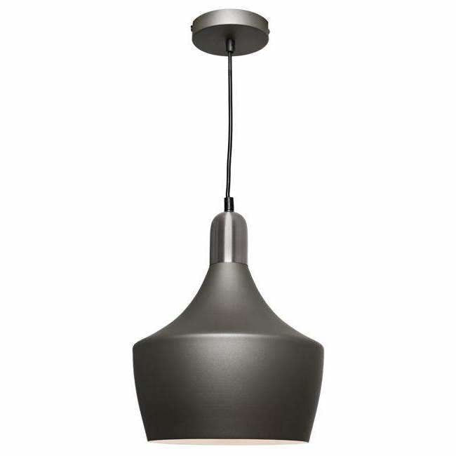 Bevo Pendant in Charcoal Grey and Satin Chrome - Crystal Palace Lighting