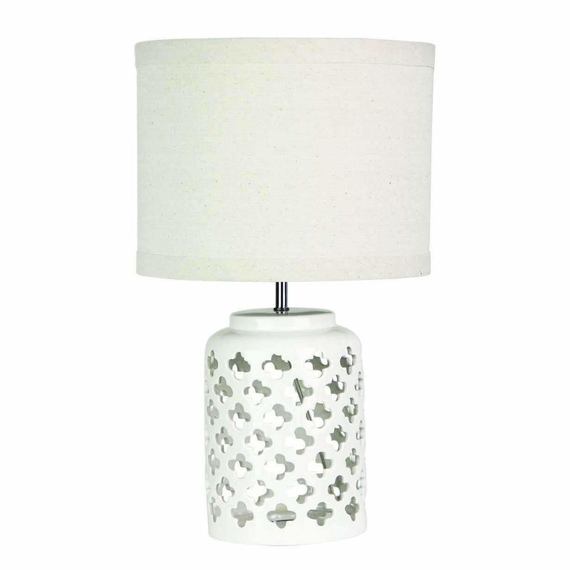 Casbah Ceramic Table Lamp in Antique White - Crystal Palace Lighting