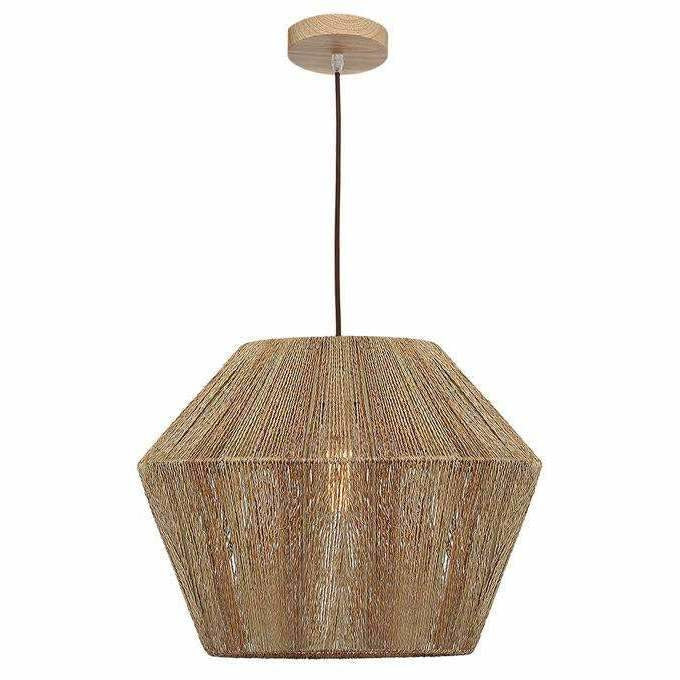 Cassie Pendant Light, Maple Wood Finish with Natural Tan Thread, 2 Size Options - Crystal Palace Lighting