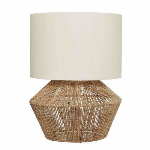 Cassie Table Lamp with Natural Tan Thread Base and White Shade - Crystal Palace Lighting