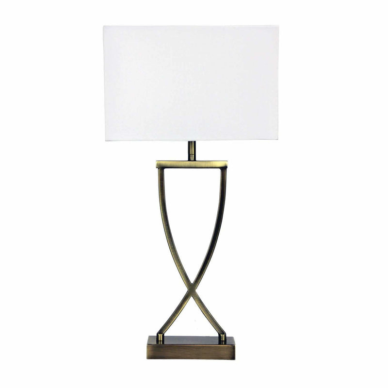 Chi Table Lamp in Antique Brass with White Shade - Crystal Palace Lighting