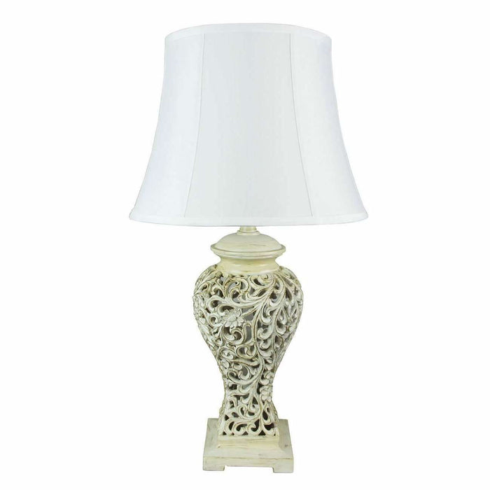 Devana Filigree Lamp in Antique White - crystal-palace-lighting