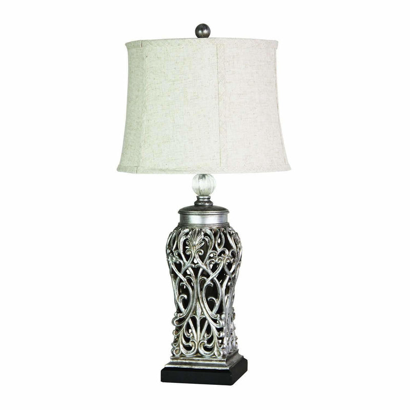 Dorne Filigree Table Lamp in Antique Silver with White Shade - Crystal Palace Lighting