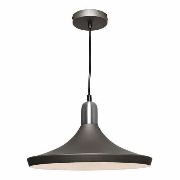 Dusty Pendant in Charcoal Grey with Satin Chrome Highlights - Crystal Palace Lighting