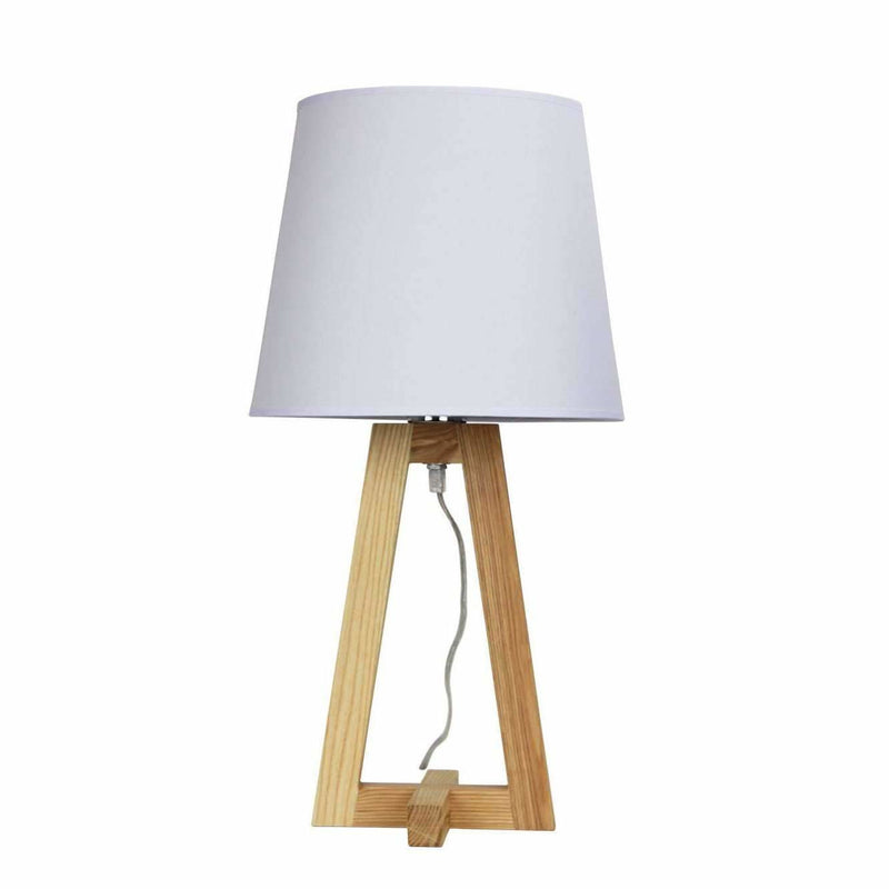 Edra Table Lamp, Natural Wood with White Shade - Crystal Palace Lighting