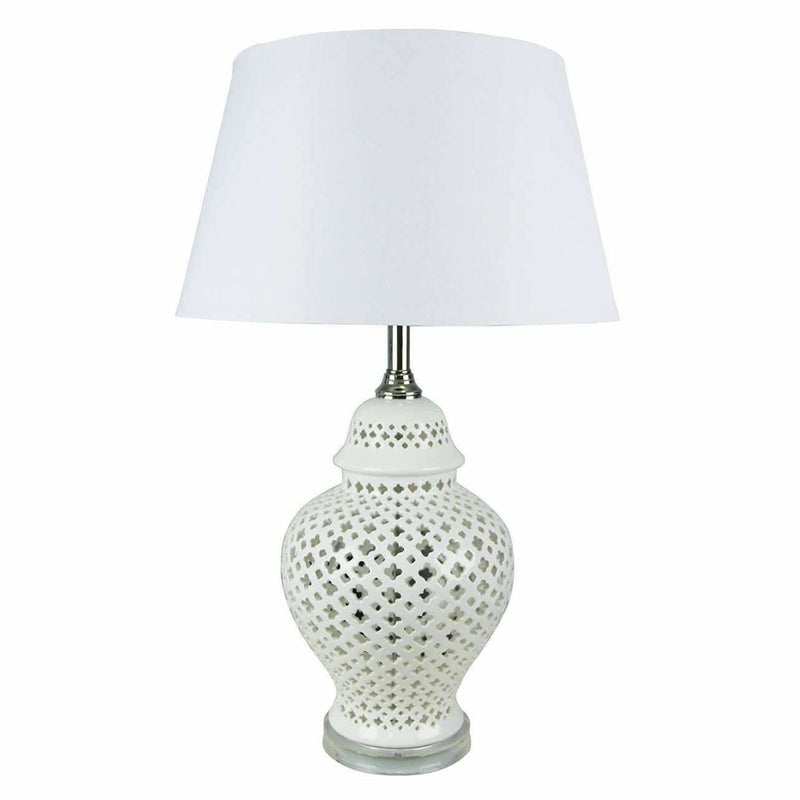 Galla Ceramic Table Lamp in White - Crystal Palace Lighting