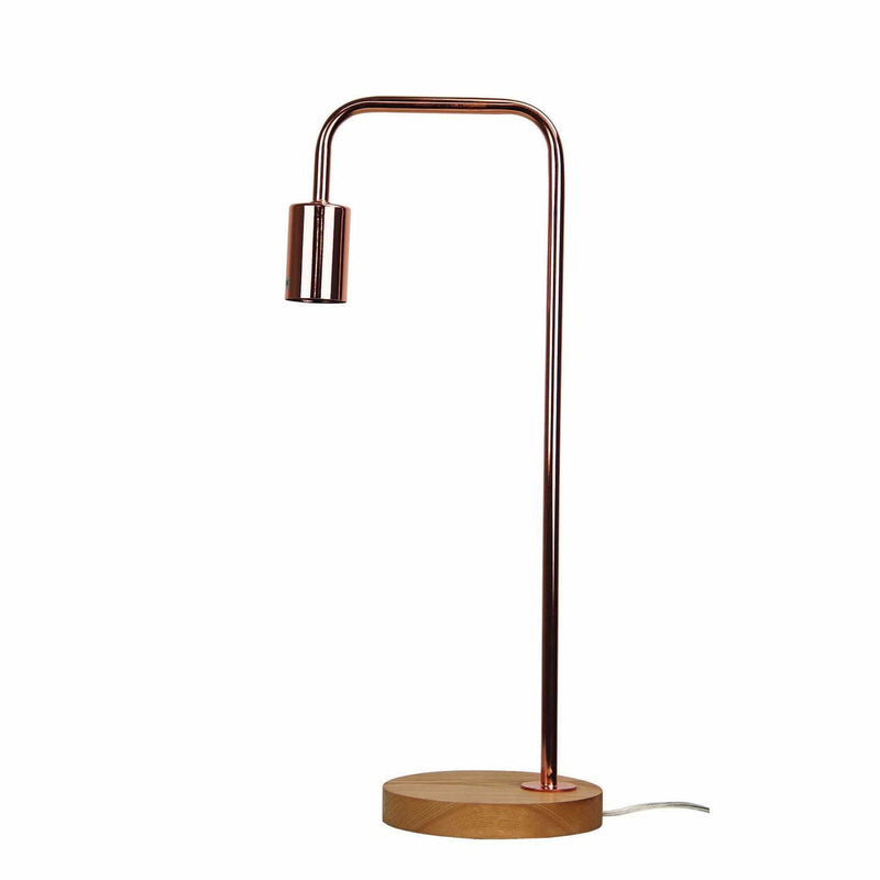 Lane Table Lamp in Copper with Timber Base - Crystal Palace Lighting