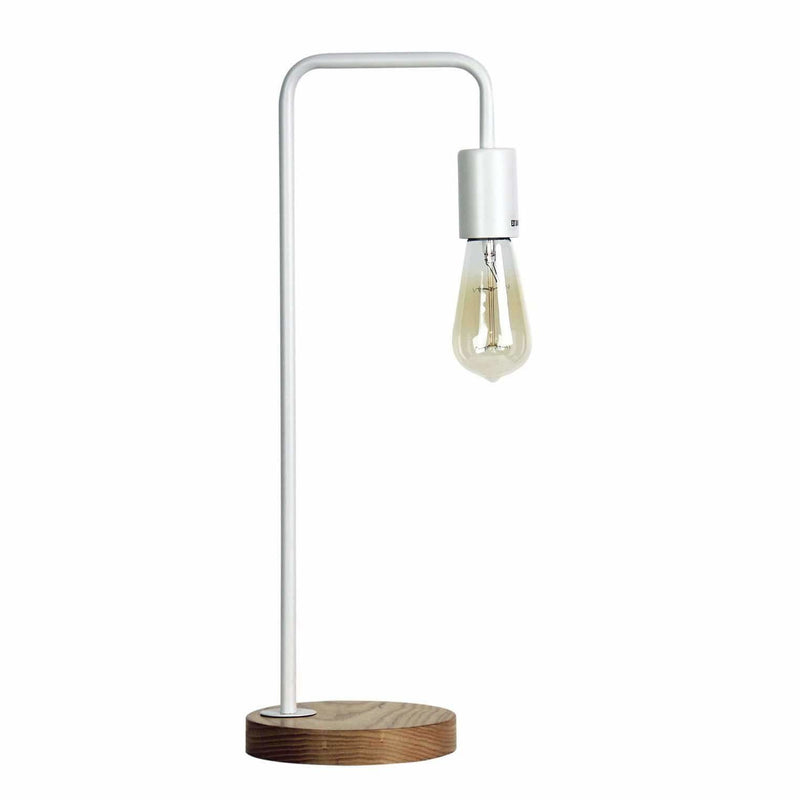 Lane Table Lamp in Matte White with Timber Base - Crystal Palace Lighting