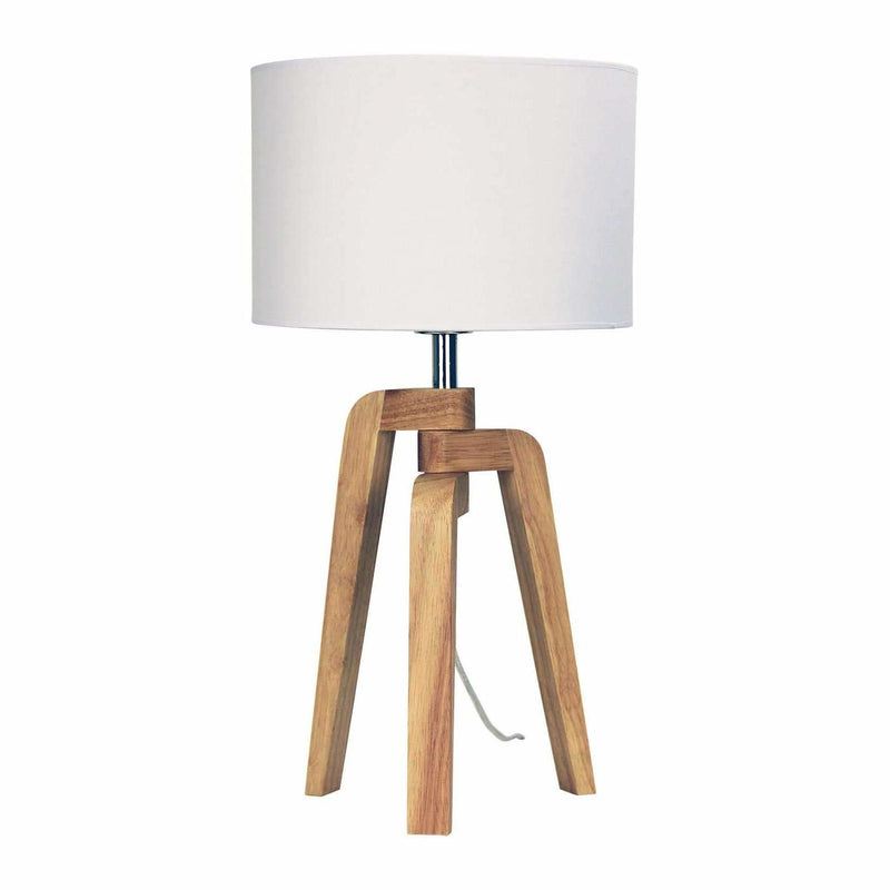 Lund Table Lamp, Natural Wood with White Shade - Crystal Palace Lighting