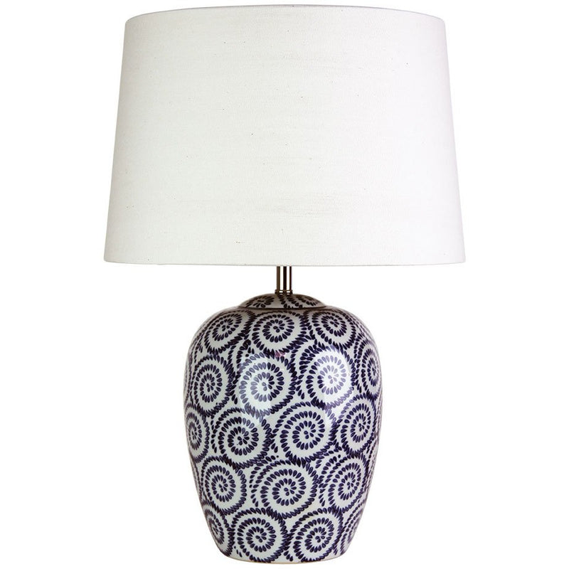 Pippi Ceramic Table Lamp in Bone White and Federal Blue