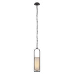 VISUAL COMFORT MELANGE SMALL ELONGATED PENDANT WITH ALABASTER SHADE BY KELLY WEARSTLER - Crystal Palace Lighting