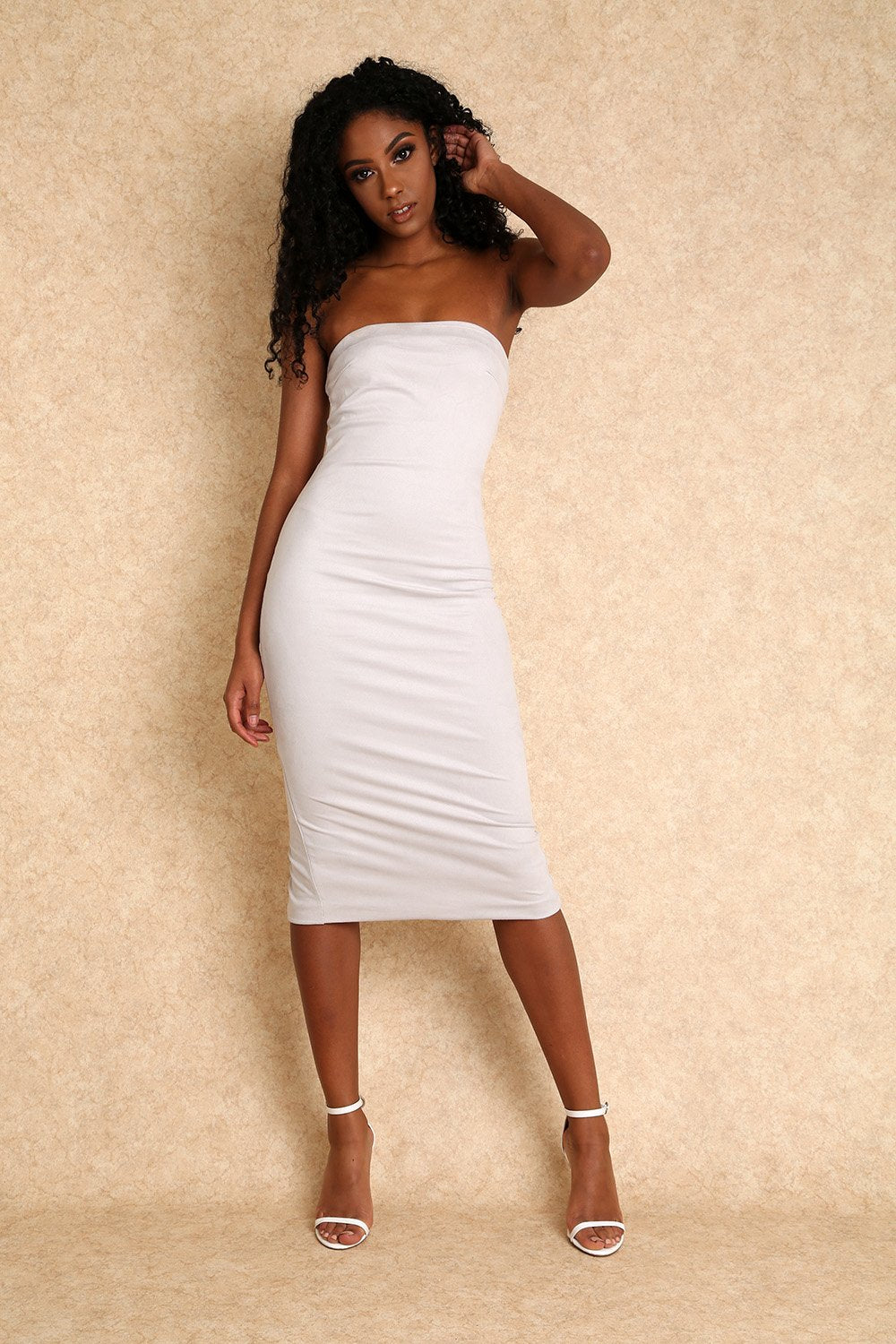 Amara Faux Suede Mini Dress with Exposed Zipper- Light Grey