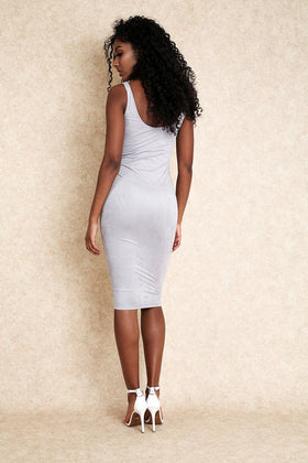 Sade Light Grey Suede Midi Dress