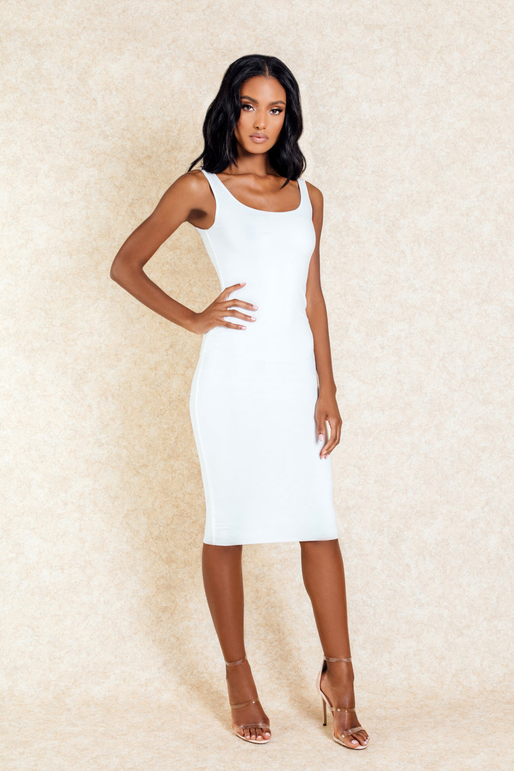 Celeste White Midi Stretch Bodycon Dress