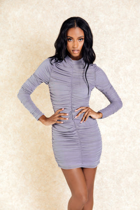 Kora Grey Rouched Long Sleeve Mini Dress