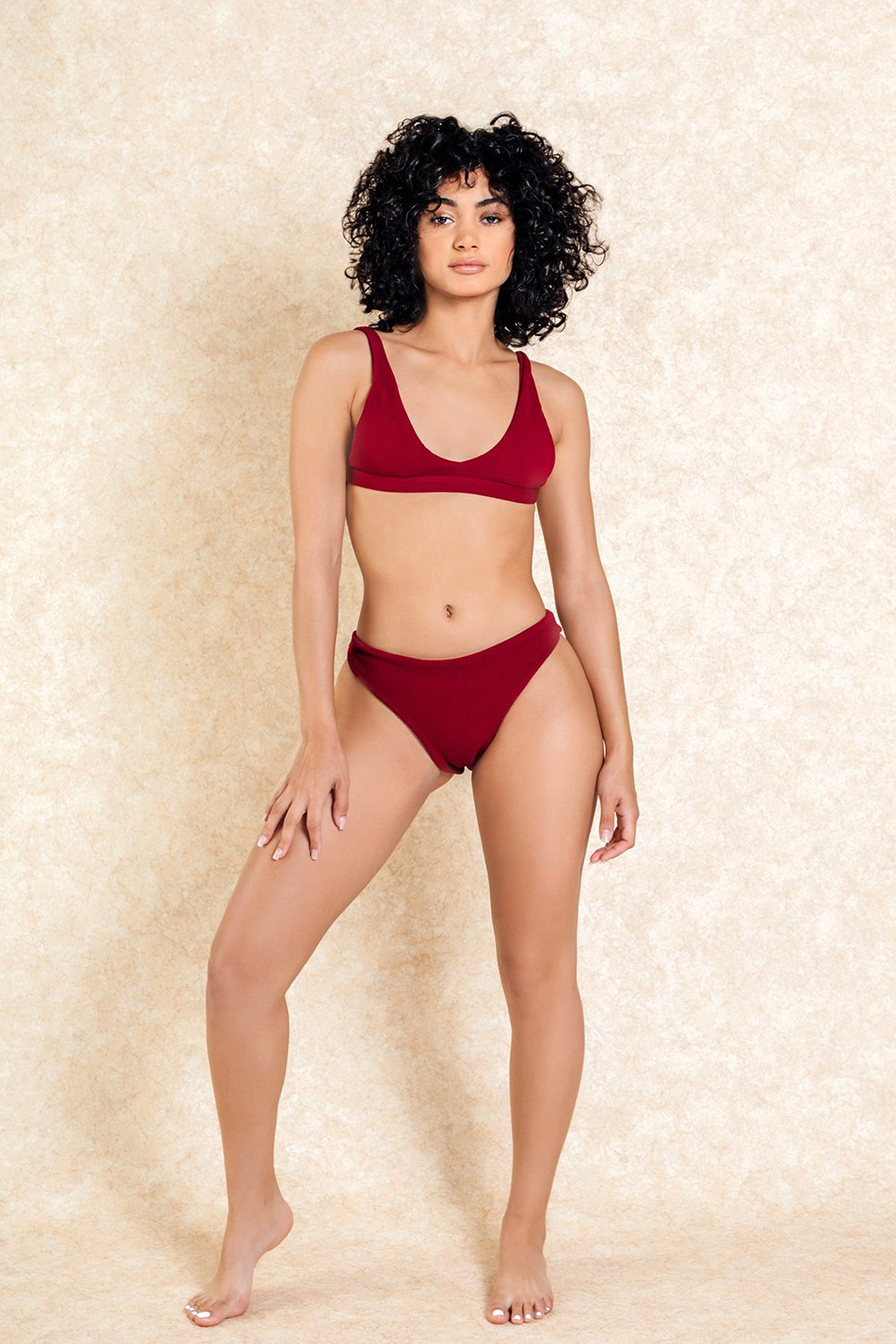 Rumi Red Textured Bra Front Bikini Set