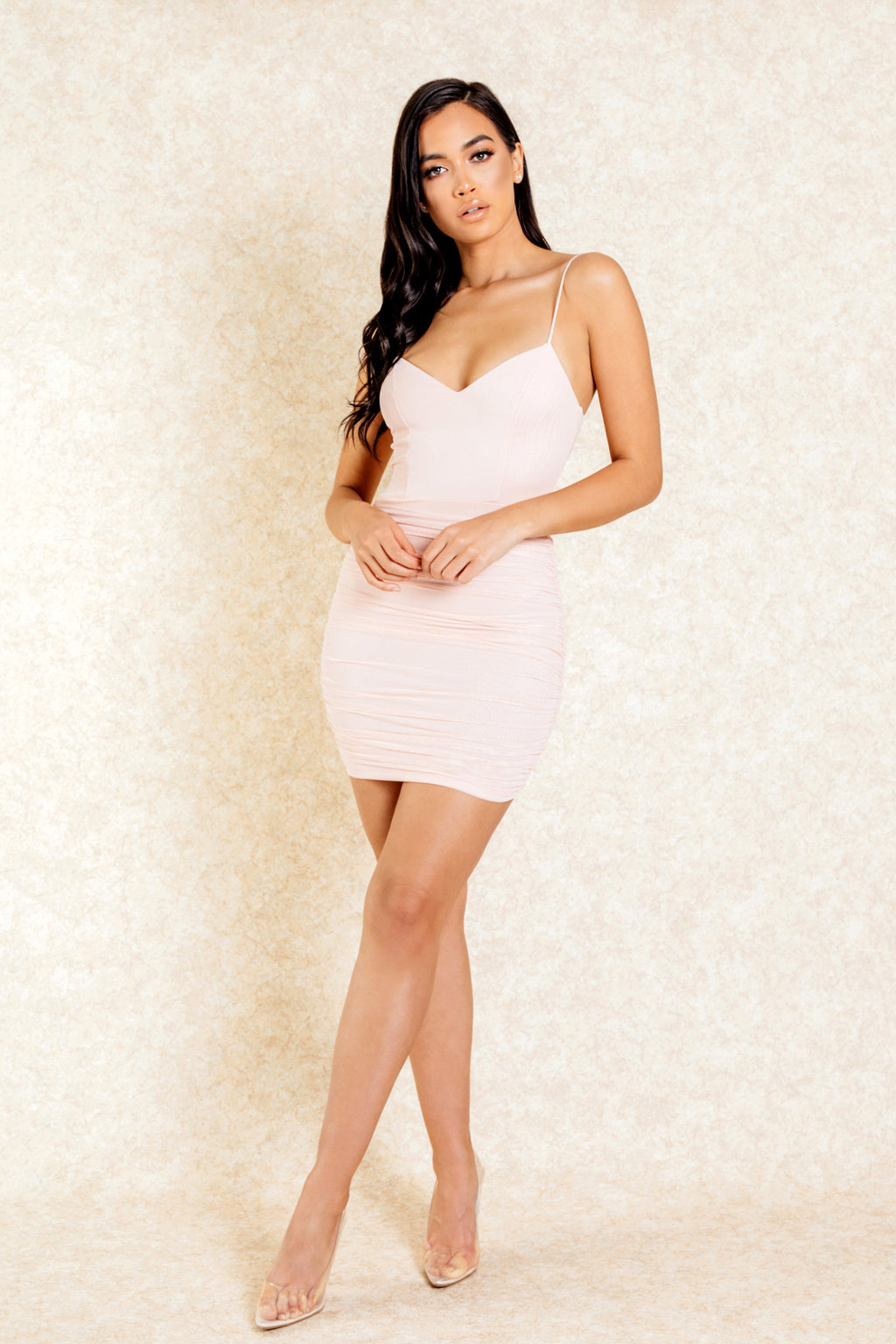 Esi Blush Ruched Mini Dress