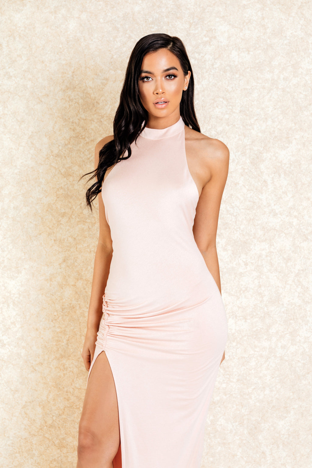 Adanna Blush Low Back Maxi Dress with Side Slit