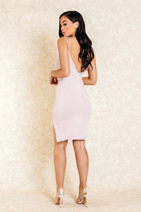Zahra Blush Suede Double Strap Dress with Slit