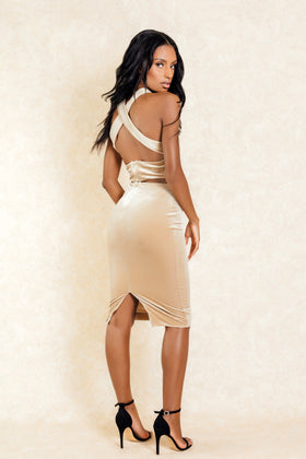 Maya Champagne Suede Cross Back Midi Dress