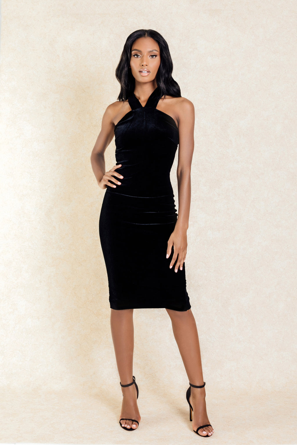 Maya Black Suede Midi Dress with Cut Out Back