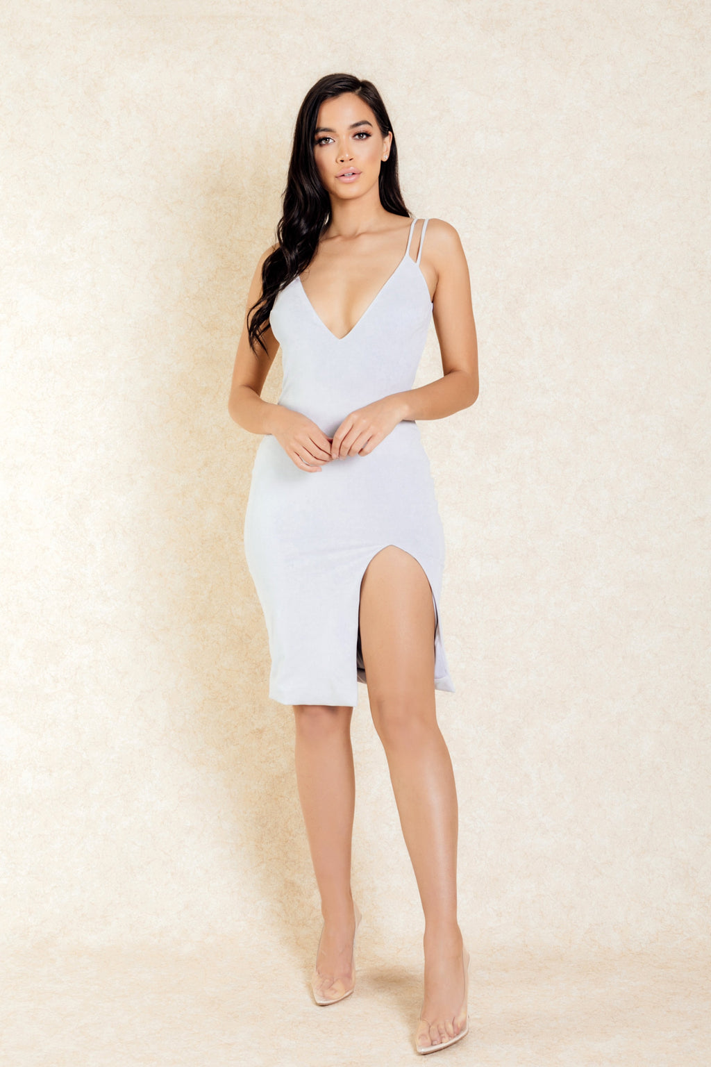 Zahra Grey Suede Double Strap Dress with Slit