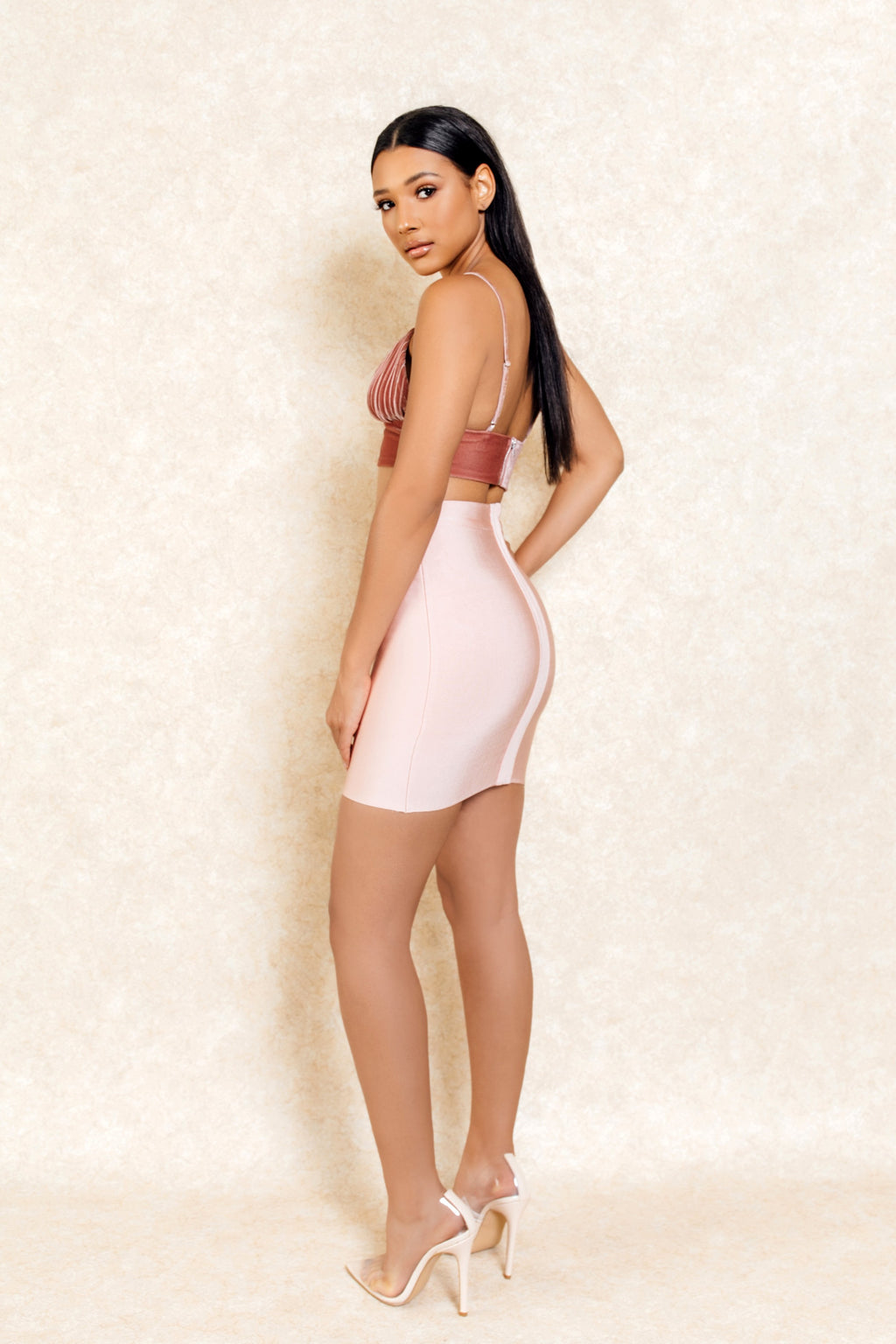Ana Pink Suede Ribbed Crop Top