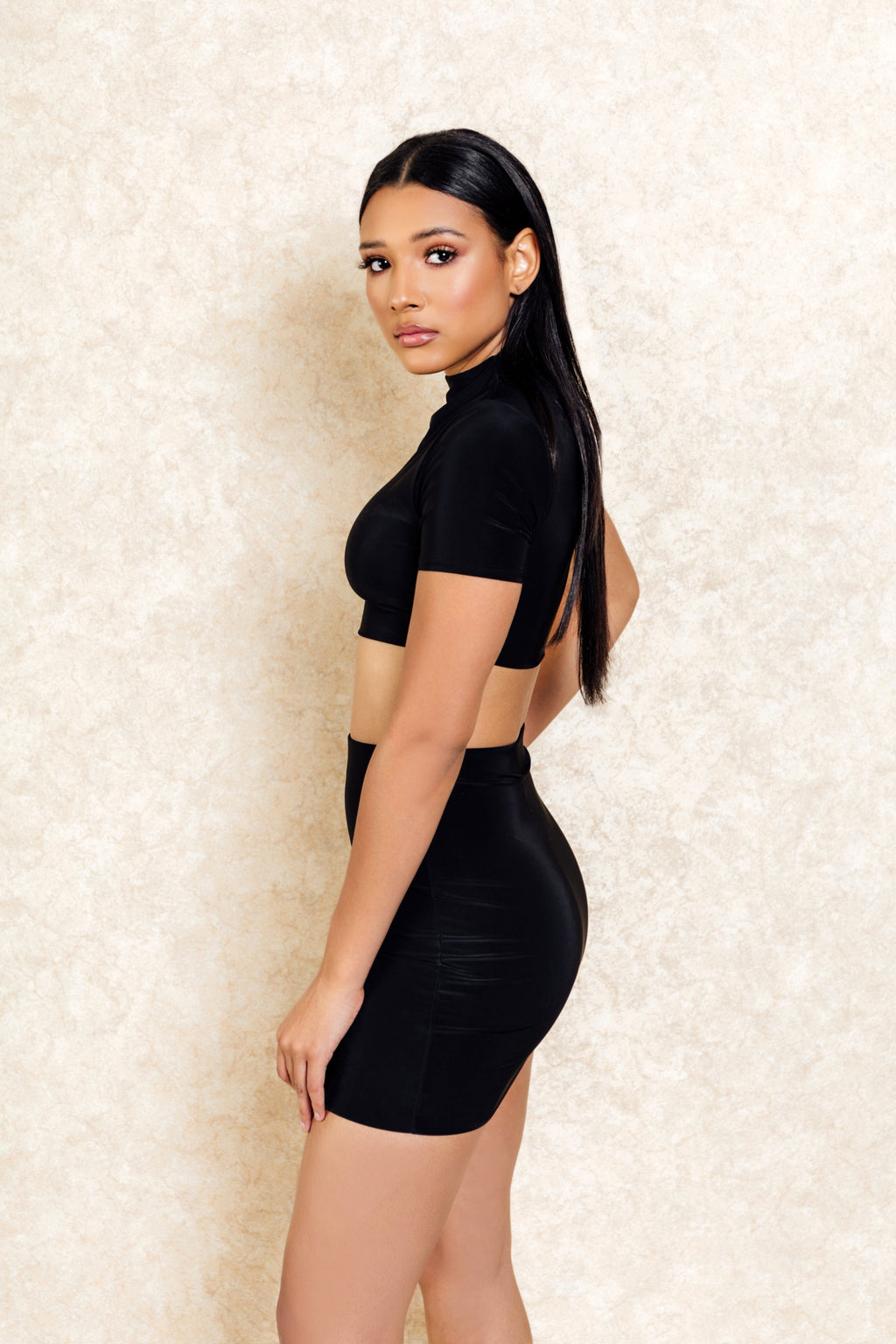 Bodhi Two Piece Black High Neck Crop and Skirt Set