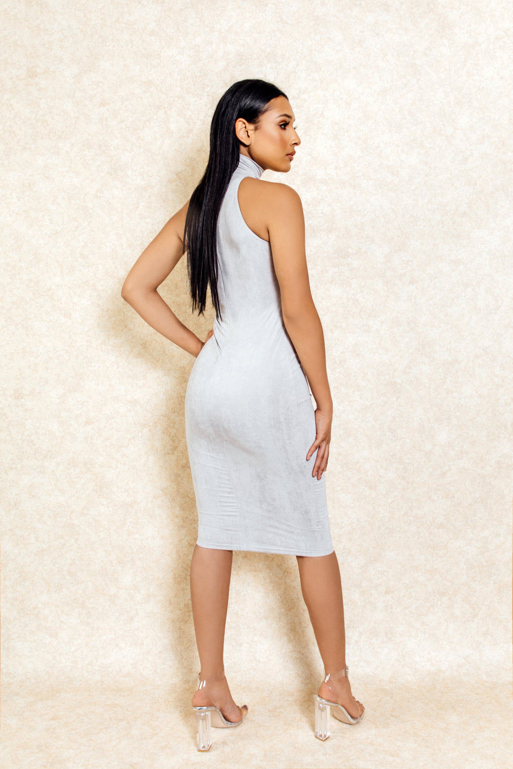 Ember Grey Suede High Neck Midi Pencil Dress