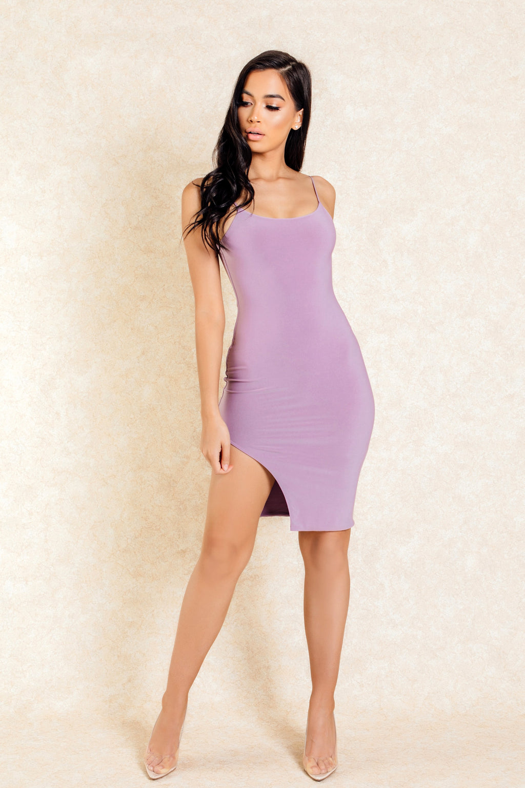 Aiko Purple Mini Slit Bodycon Dress