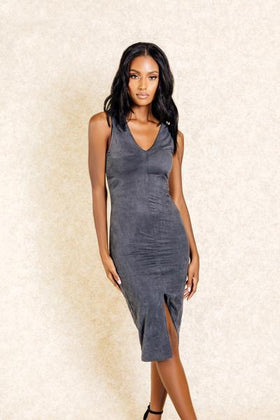 Selena Grey Suede Slit Front Midi Dress