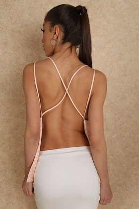 Shanghai Dreaming Backless Blush Satin Cross Back Top