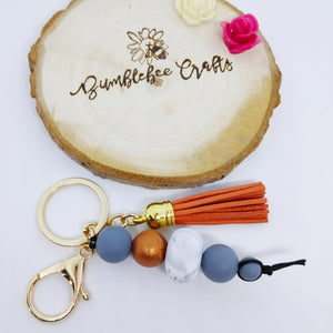 Deluxe Gold Tone Silicone Bead Keyring with large tassel