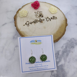 Polka Dot Glass Bead Drop Earrings