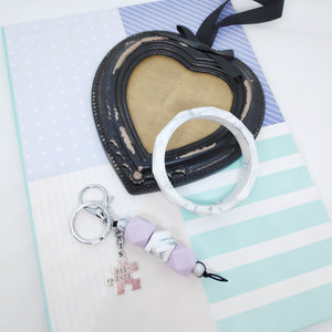 Best Friend Hexagon Silicone bead keyring