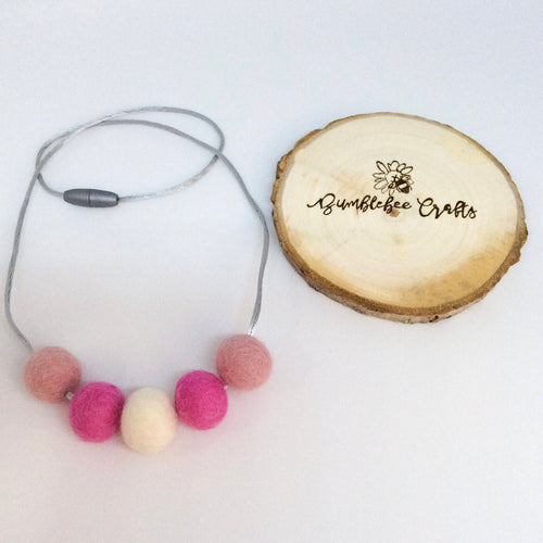Wool Felt Bead Necklace - pinks - Bumblebee Crafts