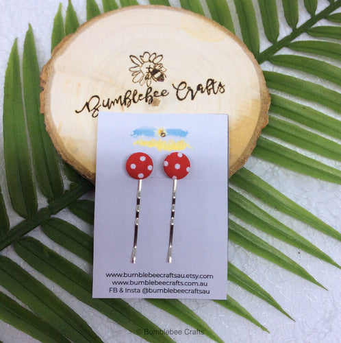 Fabric Covered Button Bobby Pins for hair - Set of 2 Dotty print - Bumblebee Crafts