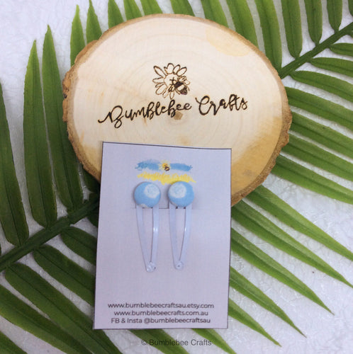 Fabric Button Hair clip set - set of 2 - blues - Bumblebee Crafts