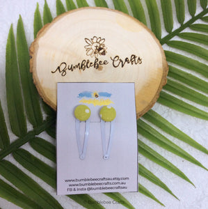 Fabric Button Hair clip set - set of 2 - Dotty Fabrics - Bumblebee Crafts