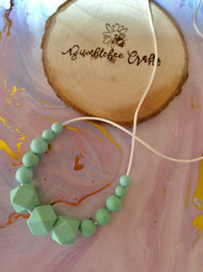 Silicone Bead Necklace - Mint green hexagon and round beads - Bumblebee Crafts