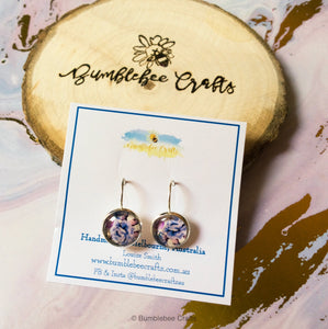 Floral Glass Bead Drop Earrings - Bumblebee Crafts