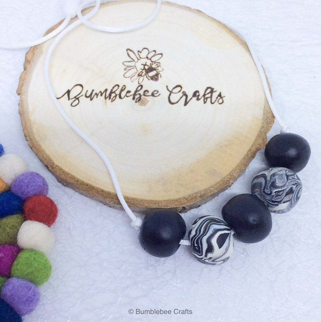 Polymer Clay Necklace - monochrome mix rounds - Bumblebee Crafts