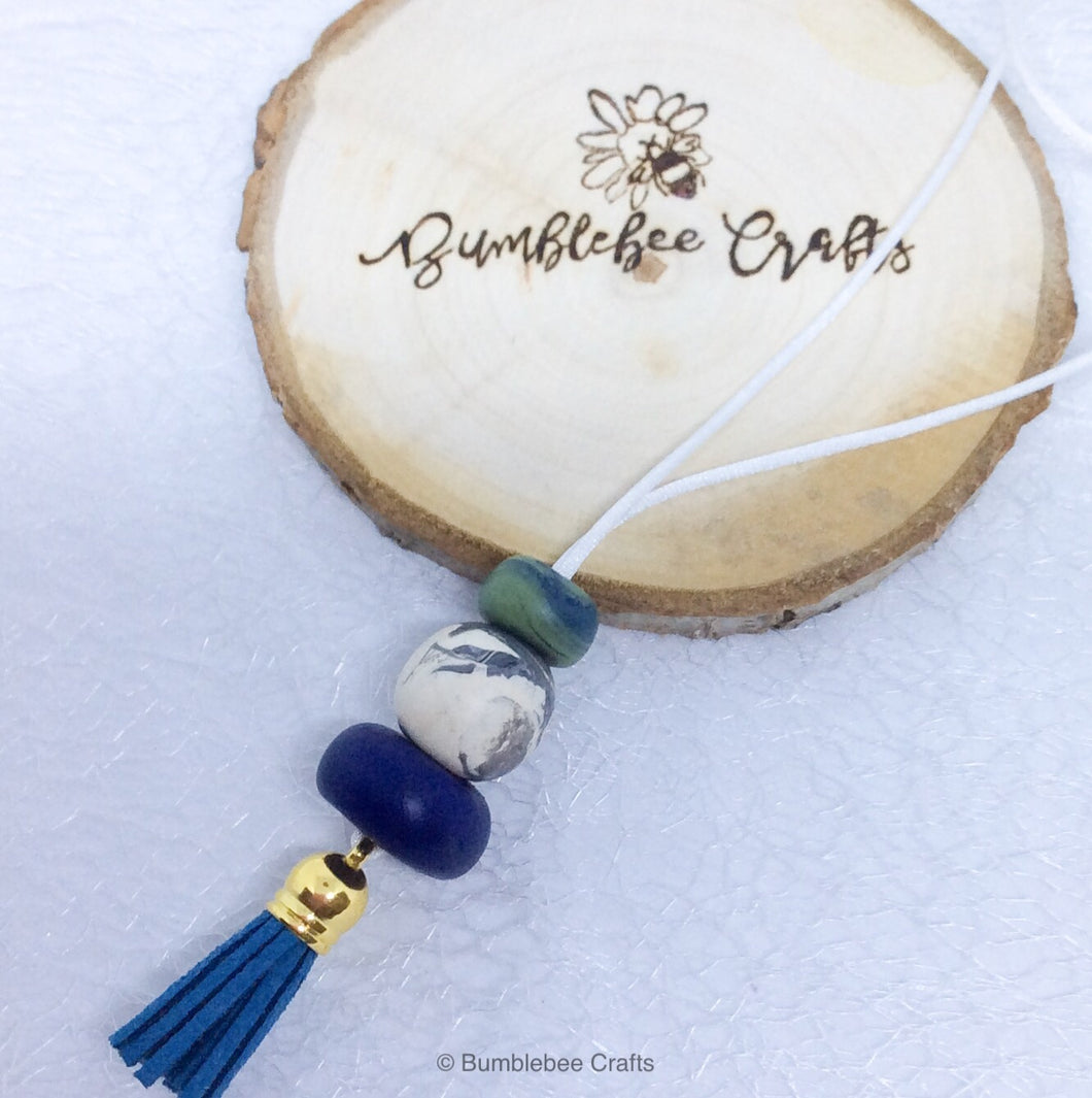 Polymer Clay Necklace - Blues mix with tassel - Bumblebee Crafts