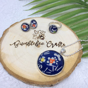 Japanese ring - blue floral - flowers - Bumblebee Crafts