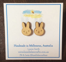 Load image into Gallery viewer, Bunny Rabbit Wooden Stud Earrings - Bumblebee Crafts